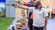 BAKU - JUNE 25: 6th placed Giuseppe GIORDANO of Italy competes in the 10m Air Pistol Men Finals at the Baku Olympic Shooting Range during Day 4 of the ISSF World Cup Rifle/Pistol/Shotgun on June 25, 2016 in Baku, Azerbaijan. (Photo by Nicolo Zangirolami)