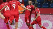 epa05731845 Sliti Naim (C-R) of Tunisia celebrates a score with teammates Ali Maaloul (R), Mohamed Ben Amor (L) and Ahmed Akaichi during the 2017 African Cup of Nations Finals Afcon football match between Algeria and Tunisia at the Franceville Stadium in Franceville, Gabon, 19 January 2017.  EPA/GAVIN BARKER