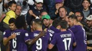 Fiorentina' forward Federico Chiesa celebrates with his teammates after scoring the first goal of the Italian Serie A soccer match between ACF Fiorentina and Atalanta BC at Artemio Franchi Stadium in Florence, 24 September 2017. ANSA/ MAURIZIO DEGL'INNOCENTI