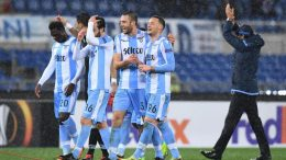 Lazio's players celebrates at the end of the UEFA Europa League Round of 32, second leg soccer match between SS Lazio and Steaua Bucharest at Olimpico stadium in Rome, Italy, 22 February 2018. ANSA/ ALESSANDRO DI MEO