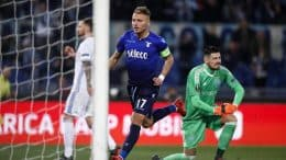 Lazio's Ciro Immobile jubilates after scoring the 1-1 goal during the UEFA Europa League Round of 16, first leg soccer match SS Lazio vs FK Dynamo Kyiv at Olimpico stadium in Rome, Italy, 08 March 2017. ANSA/ANGELO CARCONI